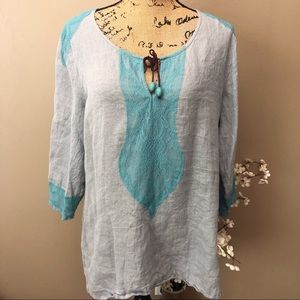Soft Surroundings Gray Linen Top Size Large